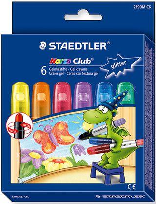 Gelinės kreidelės STAEDTLER NORIS CLUB, metalizuotų 6 sp.