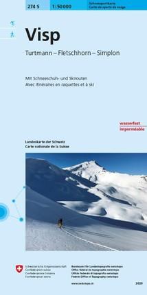 Swisstopo 1 : 50 000 Visp Skiroutenkarte