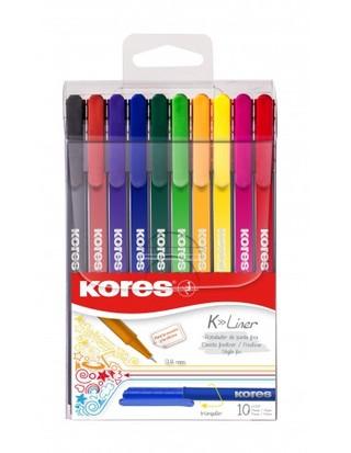 Rašiklių rinkinys KORES K-LINER 0,4 mm 10 spalvų