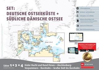 Sportbootkarten Satz 1, 2 und 4  - Set: Deutsche Ostsee und Südliche Dänische Ostsee (Ausgabe 2021)