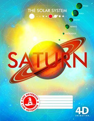 Atgyjantis 4D sąsiuvinis Saturnas (linijomis, 48 l.)