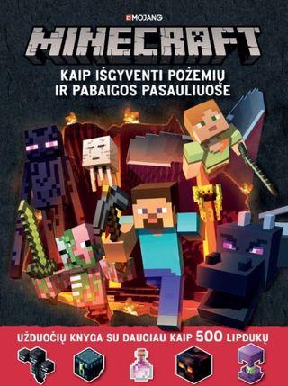 Minecraft. Kaip išgyventi požemių ir pabaigos pasauliuose. Užduočių knyga su daugiau kaip 500 lipdukų
