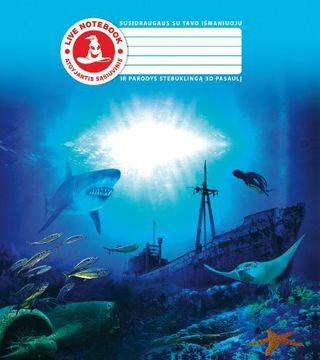 3D sąsiuvinis Ryklys ir laivas (langeliais)