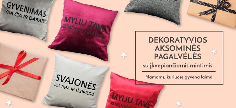 Dekoratyvios aksominės pagalvėlės su įkvepiančiomis mintimis