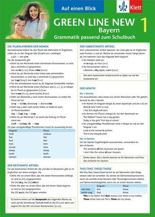 Green Line New 1. Auf einen Blick. Grammatik. Bayern