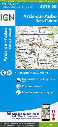 Arcis sur Aube Plancy L'Abbaye 1 : 25 000 Carte Topographique Serie Bleue Itineraires de Randonnee