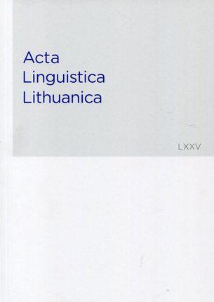 Acta Linguistica Lithuanica 75