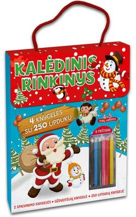 Kalėdinis rinkinys: 4 knygelės su 250 lipdukų + spalvoti pieštukai. 4-5 m. vaikams