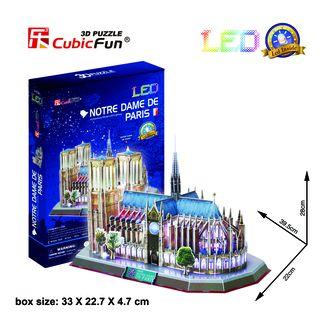 3D dėlionė: Paryžiaus Dievo Motinos katedra (su LED apšvietimu)