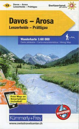 KuF Schweiz Wanderkarte 13 Davos / Arosa 1 : 60 000