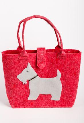 Veltos vilnos rankinė (raudona, baltas šuo)