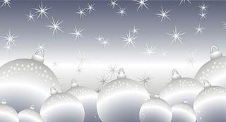 Kalėdinis sveikinimo atvirukas su voku (balti žaisliukai)