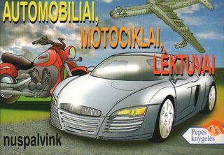 Automobiliai, motociklai, lėktuvai. Nuspalvink (mini)