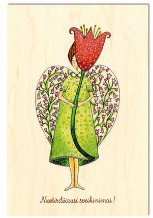 """Medinis atvirukas su voku """"Angelas ir tulpė"""""""