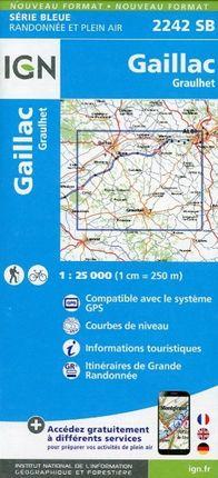 Gaillac Graulhet 1 : 25 000 Carte Topographique Serie Bleue Itineraires de Randonnee