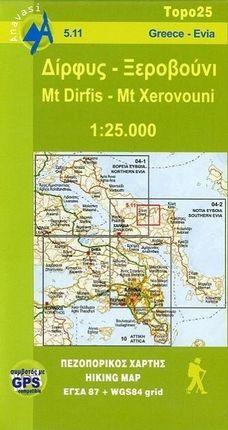 Mt Dirfis - Mt Xerovouni  1 : 25 000 Hiking Map
