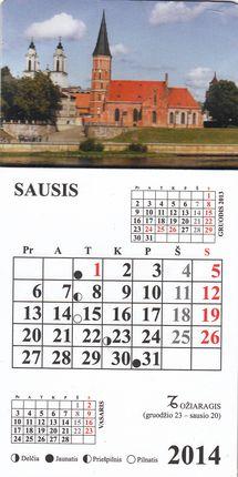 2014 metų magnetinis kalendoriukas