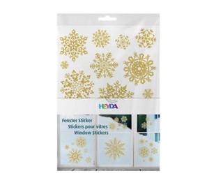 Lipdukai Kalėdiniai langų dekoravimui HEYDA snaigės aukso sp.