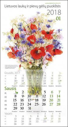 """2018 m. kalendorius """"Lietuvos laukų ir pievų gėlių puokštės"""""""