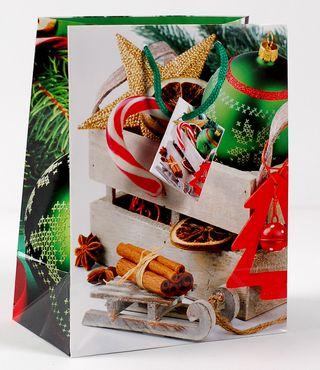 Kalėdinis dovanų maišelis (rogutės, mažas)