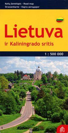 Lietuva ir Kaliningrado sritis. Kelių žemėlapis. M 1:500 000
