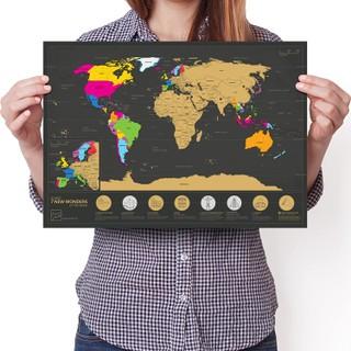 Nutrinamas pasaulio žemėlapis su 7 pasaulio stebuklais EnnoVatti (A3)