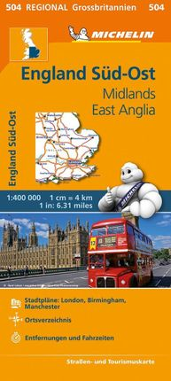 Michelin England Süd-Ost, Midlands, East Anglia. Straßen- und Tourismuskarte 1:400.000