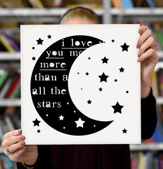 "Laimingų namų taisyklės ""I love you more than all the stars"", 30 x 30 cm"