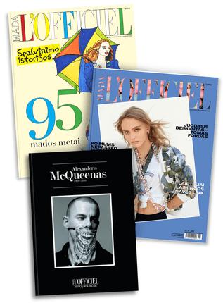 Rinkinys L'officiel mada: knyga Alexanderis McQueenas apie garsųjį dizainerį ir mados provokatorių + žurnalas L'officiel mada Nr. 12 (67) 2016 m. + leidinys 95 mados metai. Spalvinimo istorijos