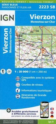 Vierzon Mennetou sur Cher 1 : 25 000 Carte Topographique Serie Bleue Itineraires de Randonnee