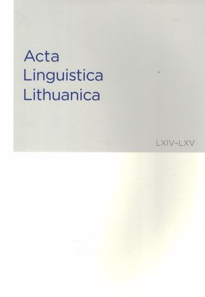 Acta Linguistica Lithuanica 64-65 (LXIV-LXV)
