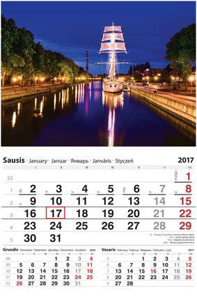 """2017 metų sieninis kalendorius su žymekliu """"Klaipėda"""""""