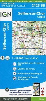 Selles sur Cher Chabris 1 : 25 000 Carte Topographique Serie Bleue Itineraires de Randonnee