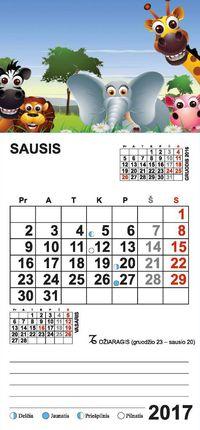 """2017 metų kalendorius su magnetu ir priklijuota detale """"Gyvūnai"""""""