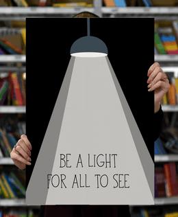 "Laimingų namų taisyklės ""Be a light for all to see"", melsvas, 60 x 40 cm"