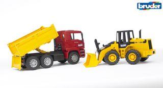 BRUDER savivartis sunkvežimis + traktorius su krautuvu 02752
