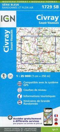 Civray - Sauze - Vaussais 1 : 25 000 Carte Topographique Serie Bleue Itineraires de Randonnee