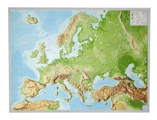Reliefkarte Europa Gross 1 : 8.000.000 mit Aluminium Rahmen