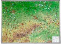 Reliefkarte Sachsen Gross 1 : 325.000 mit Aluminium-Rahmen