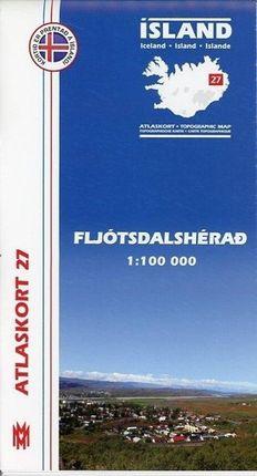 Island Atlaskort 27 Fljotsdalsherad 1:100.000