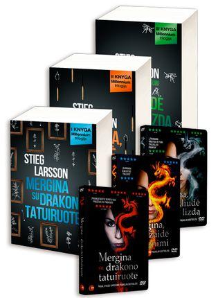 COMBO RINKINYS: 6 už 2 kainą! Geriausias detektyvas pasaulyje - MILLENNIUM trilogija + DVD trilogija: MERGINA SU DRAKONO TATUIRUOTE + MERGINA, KURI ŽAIDĖ SU UGNIMI + MERGINA, KURI UŽKLIUDĖ ŠIRŠIŲ LIZDĄ