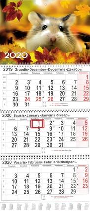 2020 m. sieninis 3 dalių kalendorius (pelė)