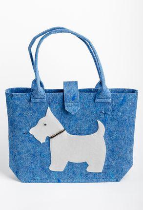 Veltos vilnos rankinė (mėlyna, baltas šuo)
