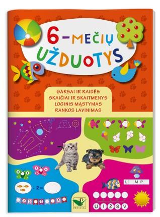 6-mečių užduotys: rankos lavinimas, loginis mąstymas, garsai ir raidės, skaičiai ir skaitmenys
