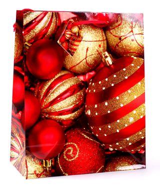 Kalėdinis dovanų maišelis (raudoni žaisliukai)