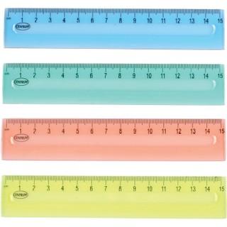 Liniuotė Centrum, 15cm, plastikinė, skaidri, įvairių spalvų