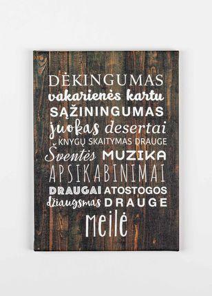 """Laimingų namų taisyklės """"Dėkingumas"""" (tamsi) 21 x 29 cm"""
