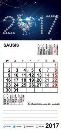 """2017 metų kalendorius su magnetu ir priklijuota detale """"2017"""""""