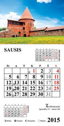 2015 m. kalendorius su magnetu. Kauno pilis