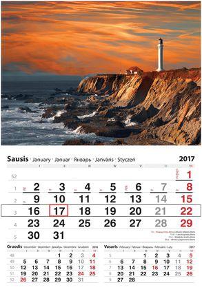 """2017 metų sieninis kalendorius su žymekliu """"Švyturys"""""""